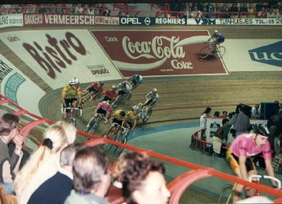 The bunch in full flight during the Ghent six day race